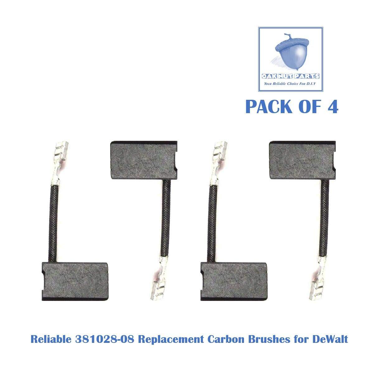 4PCS Reliable 381028-08 Carbon Brush Replacement for DeWalt 381028-08 & 381028-02 -Fits DW717, DW718, DWS780 (4 pcs/pack)