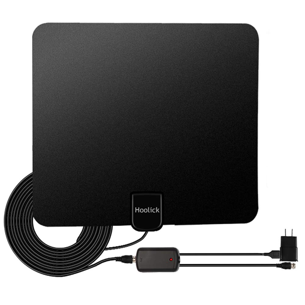 Digital TV Antenna, Hoolick HDTV Antennas Indoor 1080P 50 Miles Range with Anti-interference Detachable Amplifier Signal Booster for Smart TV, 13.3ft Coax Cable