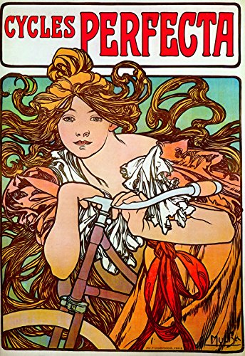 Cycles Perfecta: Vintage Mucha Bicycle Advertisement Poster Reproduction (24