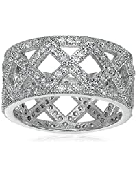 "Sterling Silver Cubic Zirconia ""X"" Pattern Band Ring"