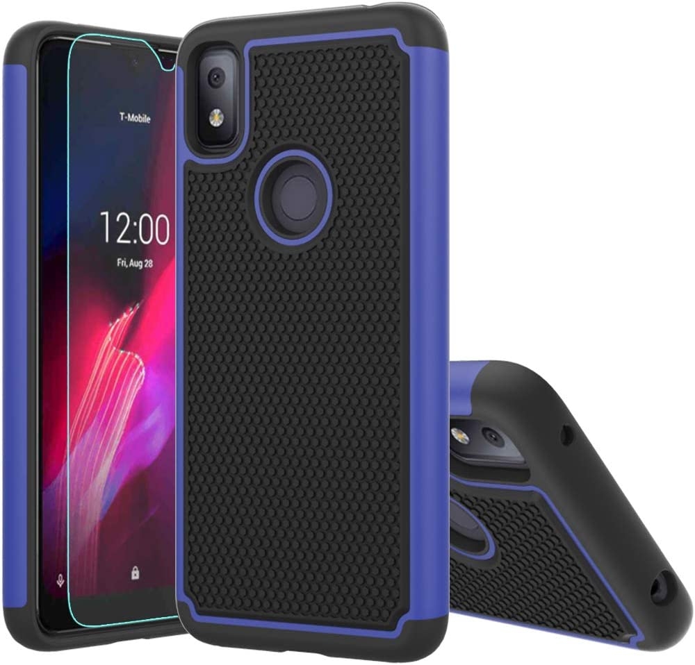 T-Mobile Revvl 4 Case,Revvl 4 Case,with HD Screen Protector [Shock Absorption] Hybrid Dual Layer TPU & Hard Back Cover Bumper Protective Case Cover for T-Mobile Revvl 4 (Blue Armor)