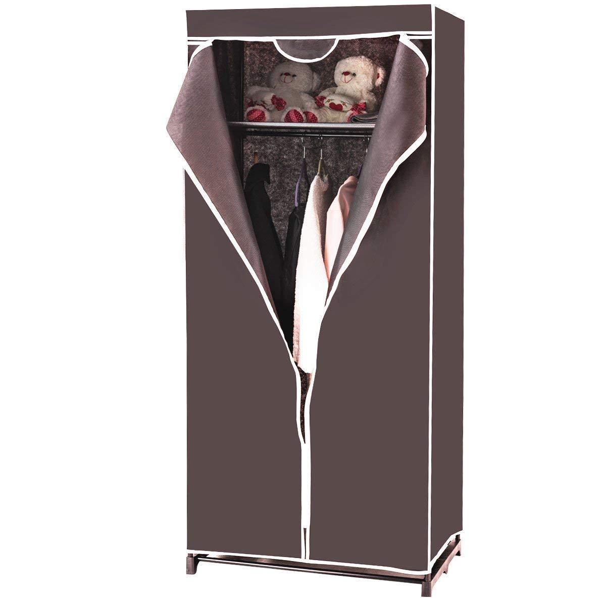 75 x 50 x 170cm Vari Colori Disponibili Costway Armadio in Tessuto Armadio Cabina Pieghevole con Asta Appendiabiti Nero