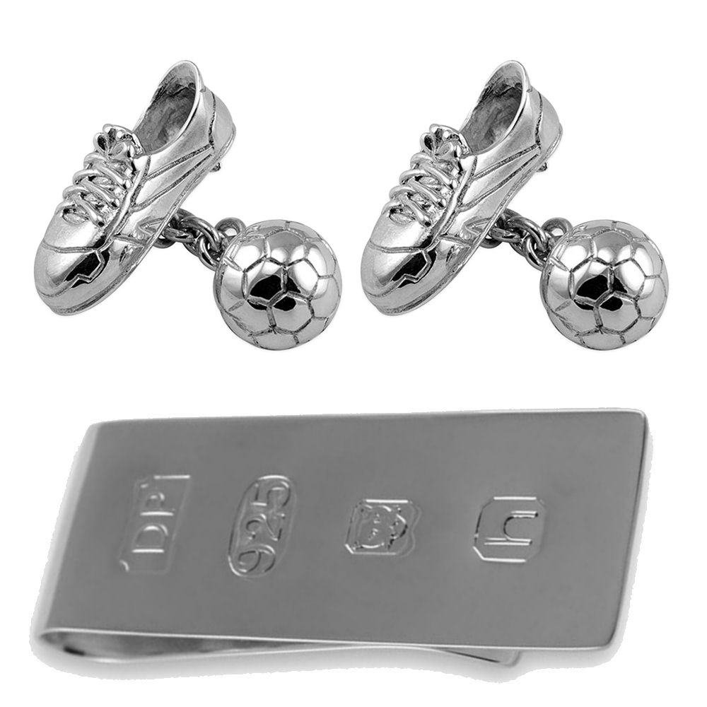 Sterling Silver Football & Boot Cufflinks with Chain Link James Bond Money Clip Box Set