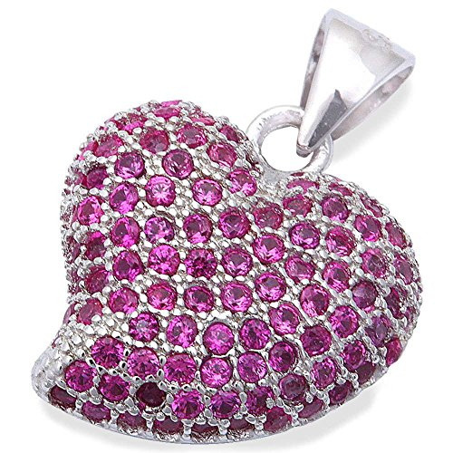 Blue Apple Co. Heart Pendant 925 Sterling Silver Simulated Ruby Micro Pave Cubic Zirconia Choose Color(20mm)