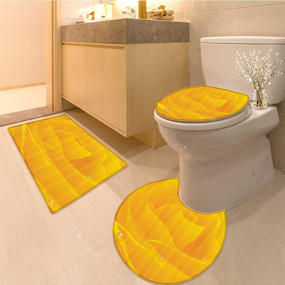 3 Piece large Contour Mat setYello Huge Yello Romantic Rose About to Open Itself with Drops on Artwork Yellow Bathroom Rugs Contour Mat Lid Toilet Cover
