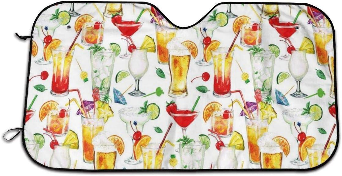 Llynice Ex/ótico patr/ón de c/ócteles para Verano Obras de Arte para Ventana Frontal Bebidas Frescas y jugosas para Acuarelas Parasol para Coche