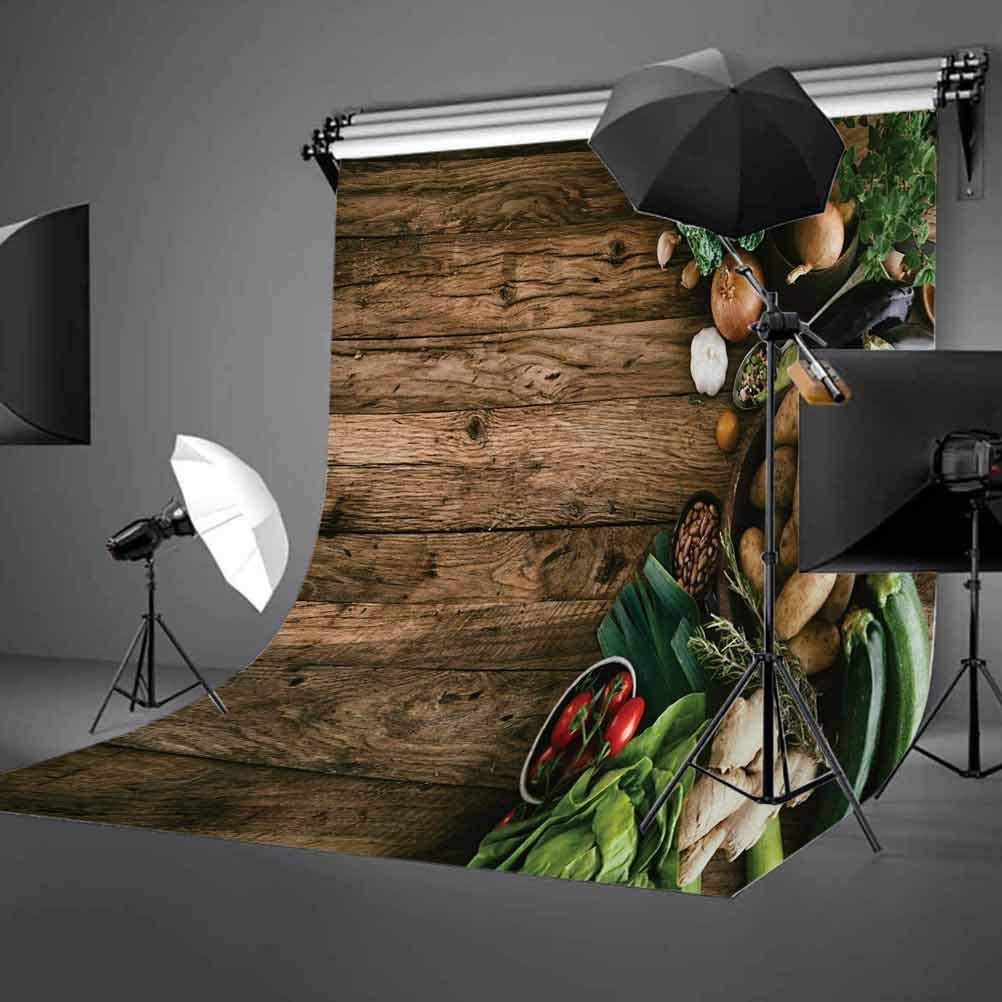 6x8 FT Backdrop Photographers,Various Vegetables on Rustic Wooden Table Onions Potatoes Zucchini Cherry Tomatoes Background for Photography Kids Adult Photo Booth Video Shoot Vinyl Studio Props