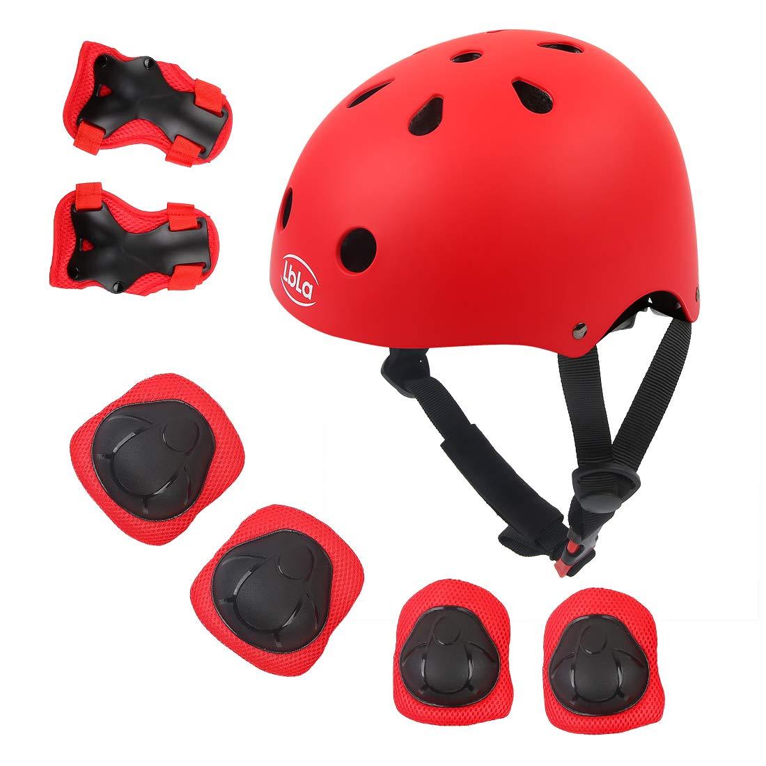 LBLA Helmet and Pads for Kids 3-8 Years Toddler Helmet,Kids Bike Skateboard Helmet,Helmet Knee Elbow Wrist for Scooter,7Pcs Adjustable Protective Gear Set for Kids(Red