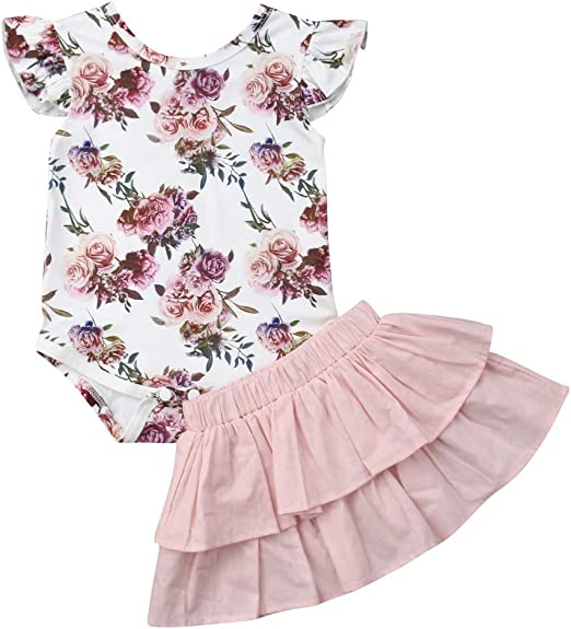 Womola Toddler Kids Baby Girl Clothes 2pcs Outfits Floral Shorts Set Girls Set Casual Comfort Casual Suit