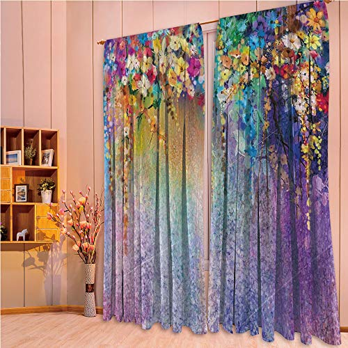ZHICASSIESOPHIER Print Kids Curtains,Polyester Curtains Panels for Bedroom,Living Room,Abstract Herbs Weeds Blossoms Ivy Back 108Wx84L Inch ()