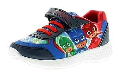 673a163920738 PJ Masks Boys Blue Canvas Trainers Sports Shoes Hook & Loop UK Sizes 5-10