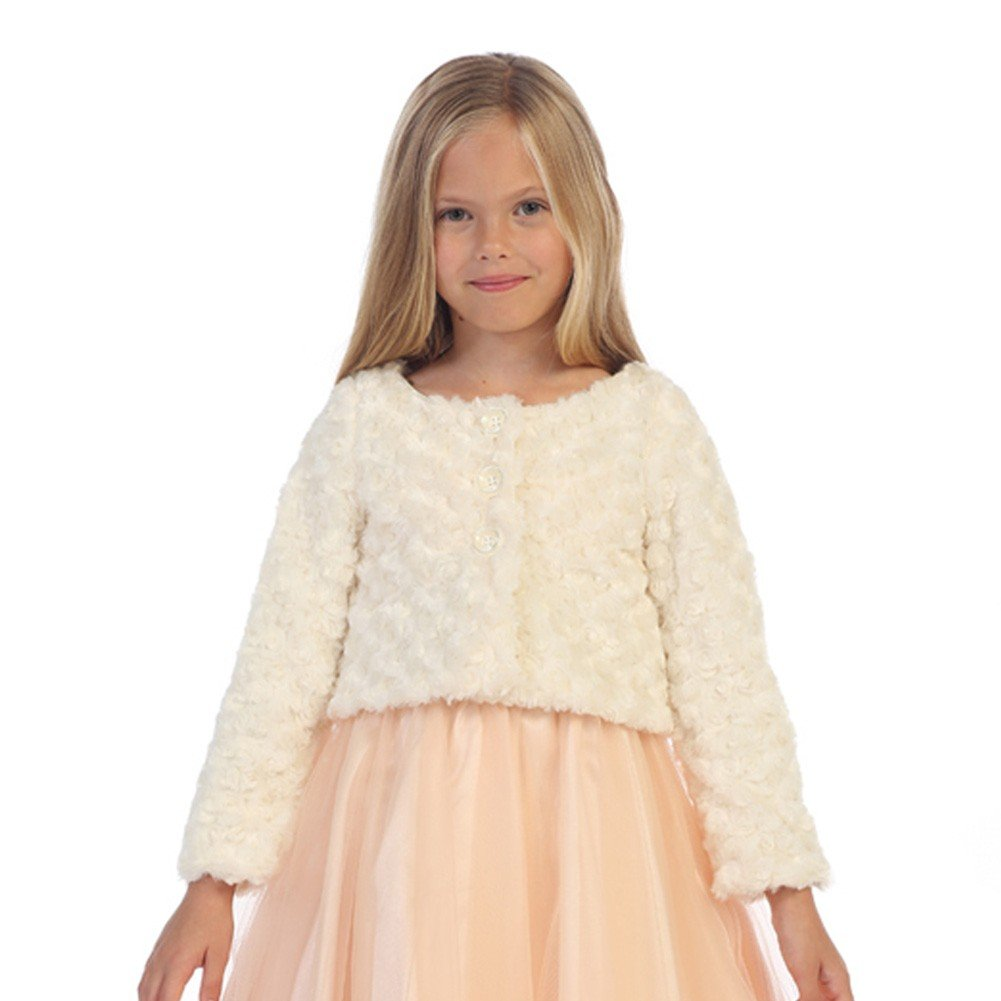 Angels Garment Big Girls Ivory Fully Lined Swirl Soft Long Sleeve Bolero 8-14
