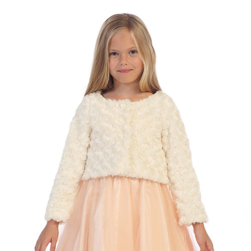 Angels Garment Big Girls Ivory Fully Lined Swirl Soft Long Sleeve Bolero 8
