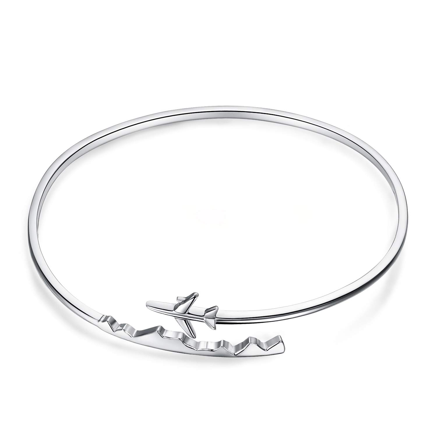 JewelryPalace 925 Sterling Silver World Travel Souvenir Airplane Adjustable Open Bangle Bracelet by JewelryPalace