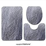 3 Piece Bath Rug Set Nalahome design-307138772 Scratches on the metal background Bathroom Rug(17.7''x29.5 '')/large Contour Mat(15.7''x17.7'')/Lid Cover(15''x15.7'')For Bathroom(red )