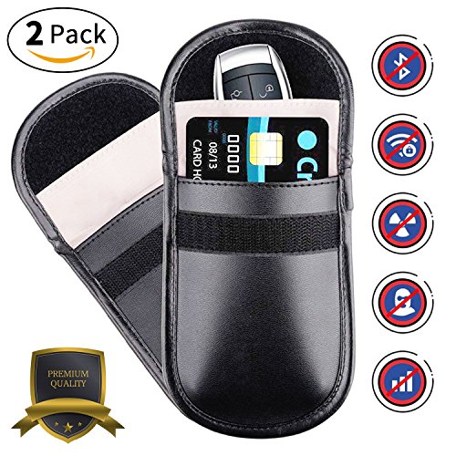 Car Keyless Signal Blocker Case Entry Fob Guard Blocking Pouch Bag Defend WIFI/GSM/LTE/NFC/RF Remotes Control Antitheft Lock Devices Shielding Healthy Cell Phone Credit Card Protection by HAODELE