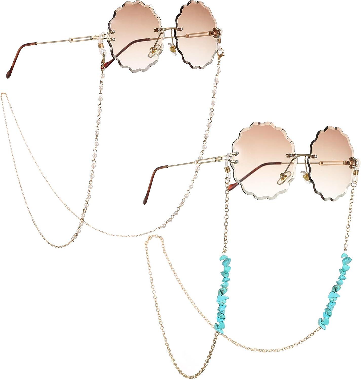M/étal Cha/îne Lunettes de Soleil Turquoise Chaine Lunettes Femme Perles Apte /à Lunettes de Soleil//Lunettes de Lecture//Lunettes 2 Pi/èces Cha/îne de Lunettes Or pour Femmes