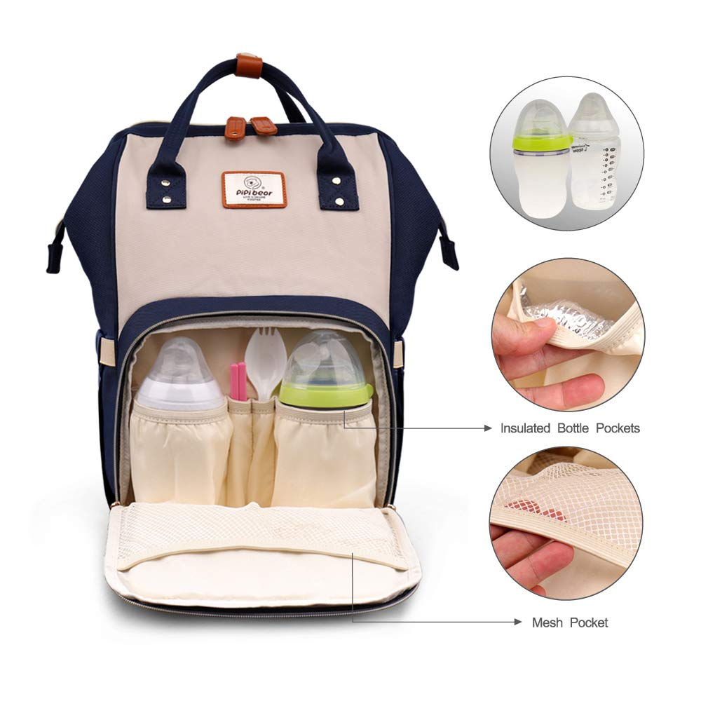 New Fashion Travel Backpack for Mom and Dad Large-Capacity Pipi bear Changing Backpack Bag Dark Grey/&Yellow Lightweight and Multi-Functional Nappy Backpack with Insulated Pockets