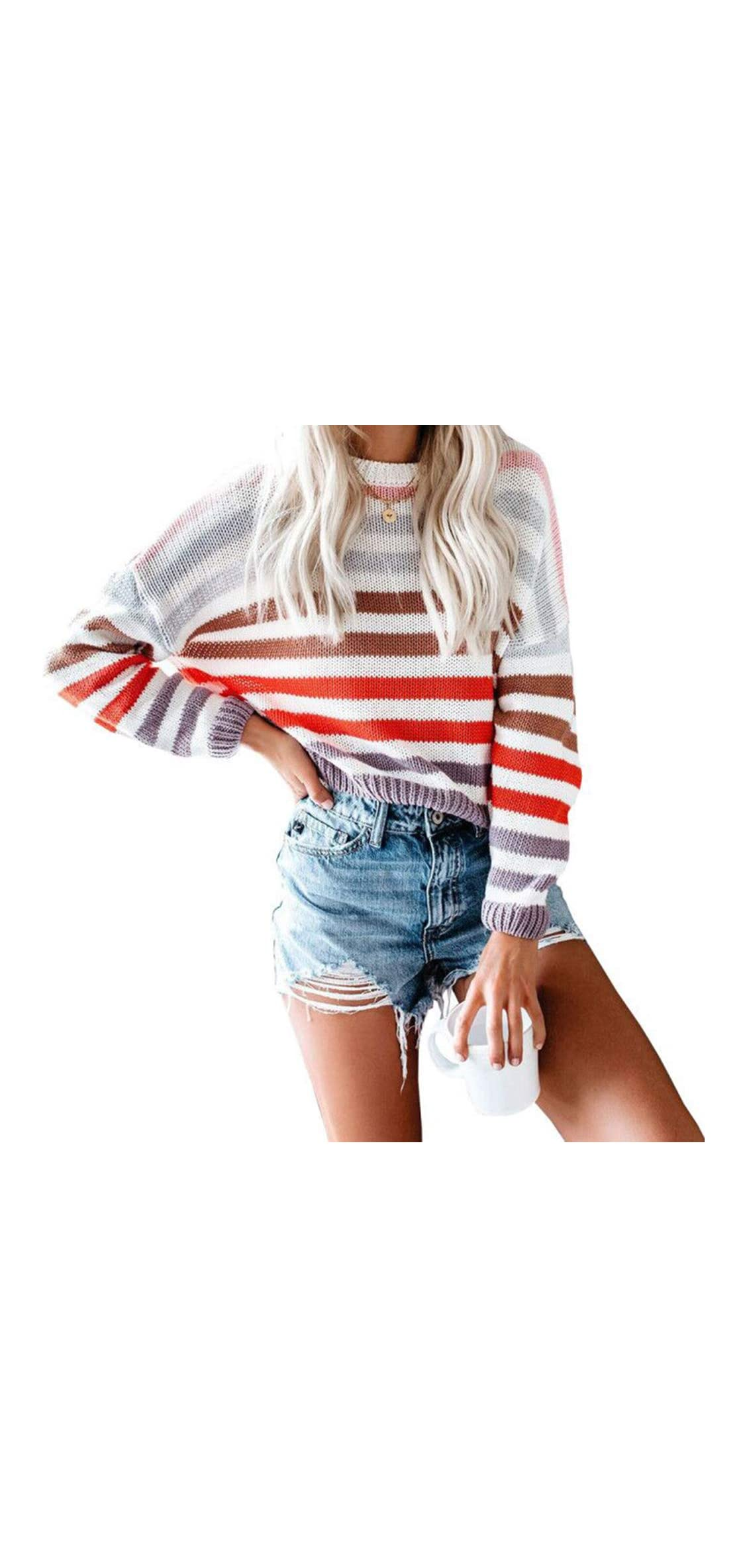 Womens Strip Color Block Short Sweater Long Sleeves