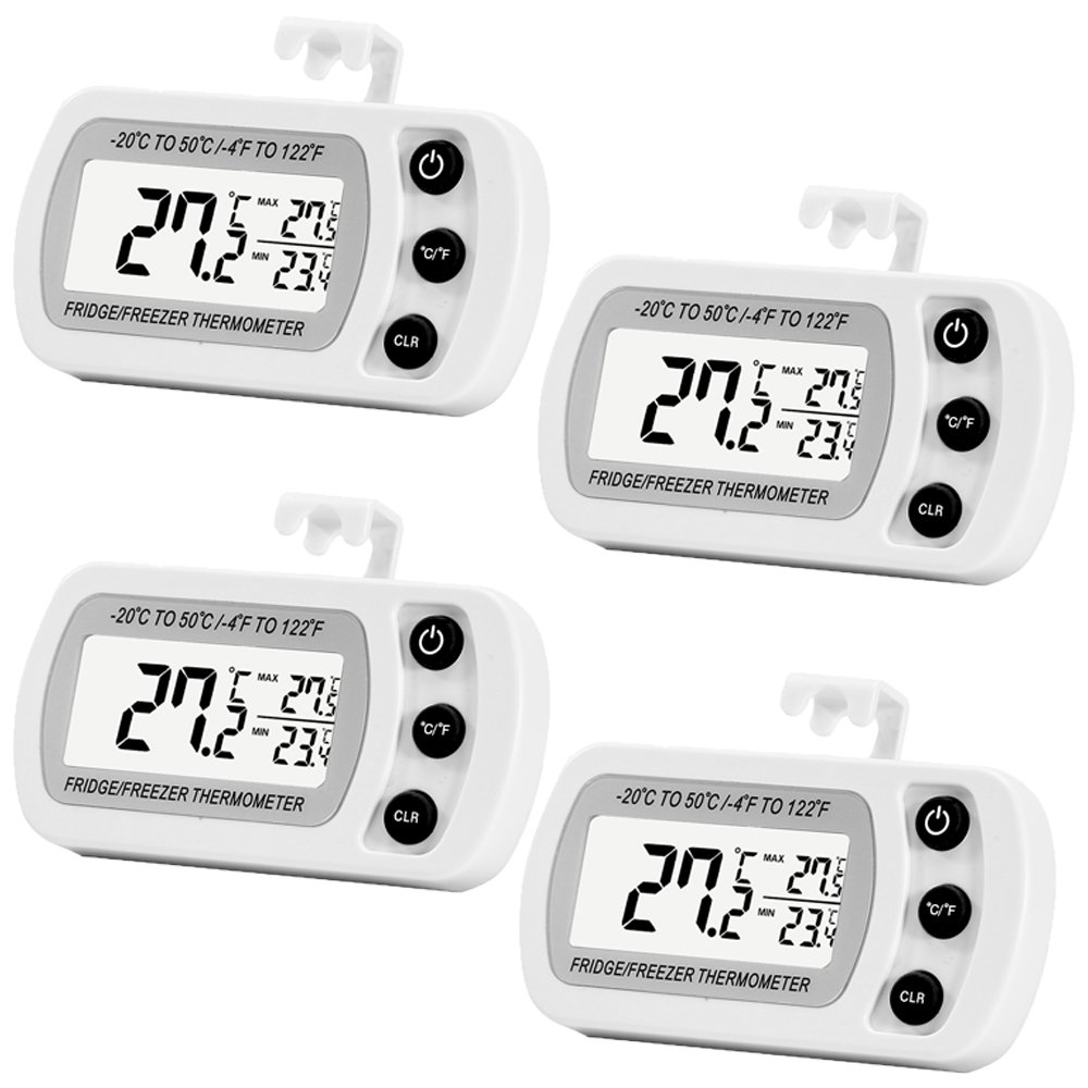 4 Pack Digital Refrigerator Freezer Thermometer,Max/Min Record Function with Large LCD Display by LinkDm
