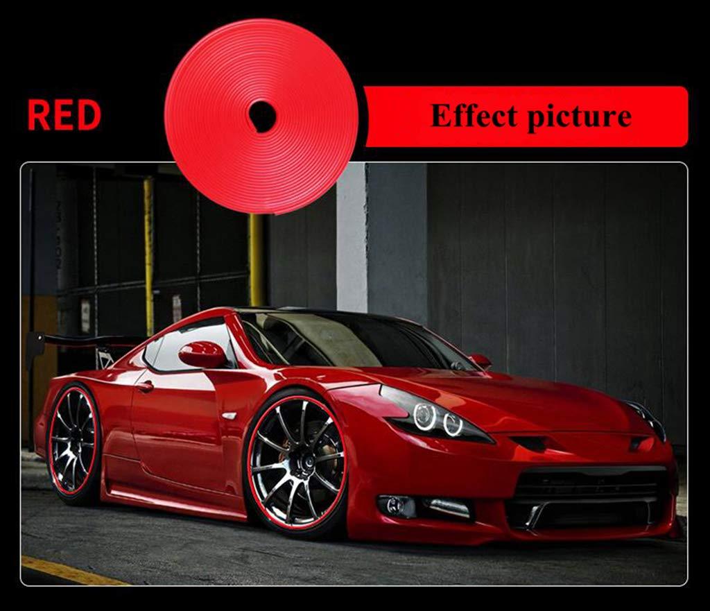 2mm Spessore Striscia Decorativa Mozzo Ruota 8m TPE Gomma Protezioni Ruote per Mozzo Ruota con Promotori di Adesione Striscia di Protezione per Ruote Striscia di Rivestimento Rosso Tuokay