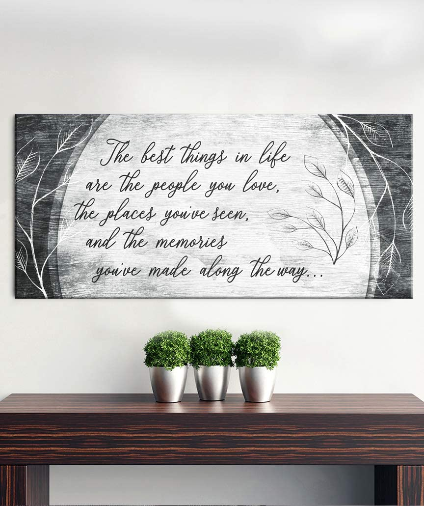 Sense of Art | The Best Things in Life are The People You Love Quote | Wood Framed Canvas | Ready to Hang | Family Signs for Home Decor (Dark Grey, 42x19)