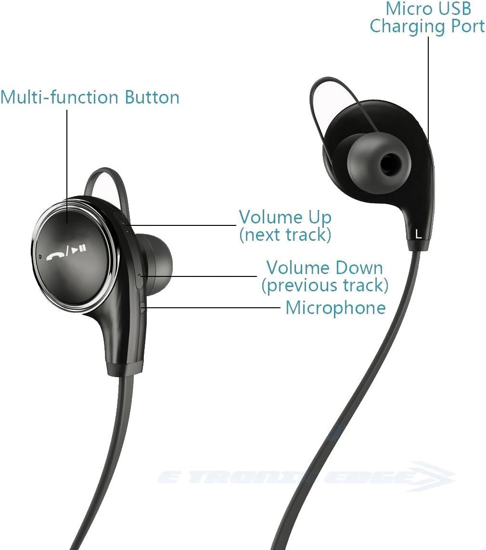 Auriculares Bluetooth: los mejores auriculares in-ear inalámbricos y compactos con Bluetooth 4.1, ideales para hacer deporte, con graves y micrófono compatible con iPhone 6, 6S, 5, 5S, iPad, iPod, Samsung Galaxy Edge