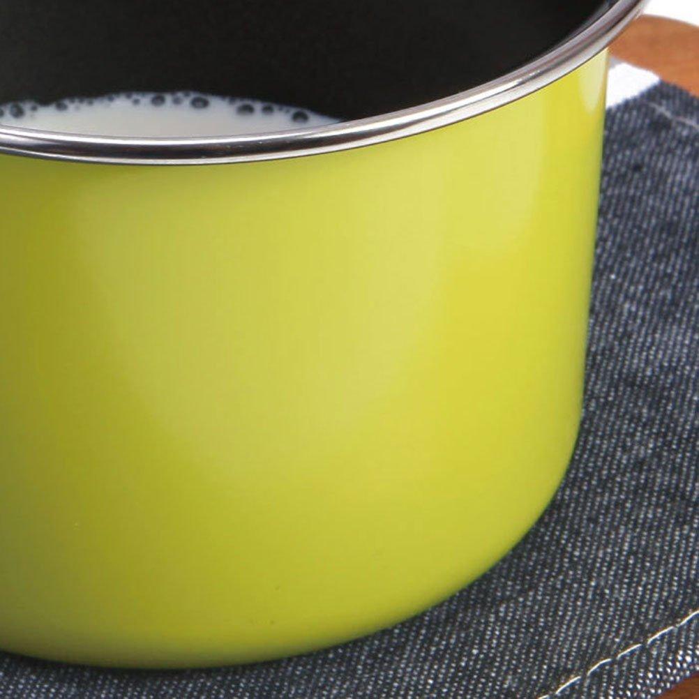 BESTONZON Latte in padella antiaderente Casseruola Caffettiera teiera con manico in plastica Utensili da cucina Zucchero Melting Pot Verde
