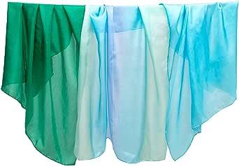 Sarah's Silks - Ocean Sea Set of 3 Playsilks, 100% Real Silk, Eco-Friendly Dye, 35-Inch Square Silk Play Scarves