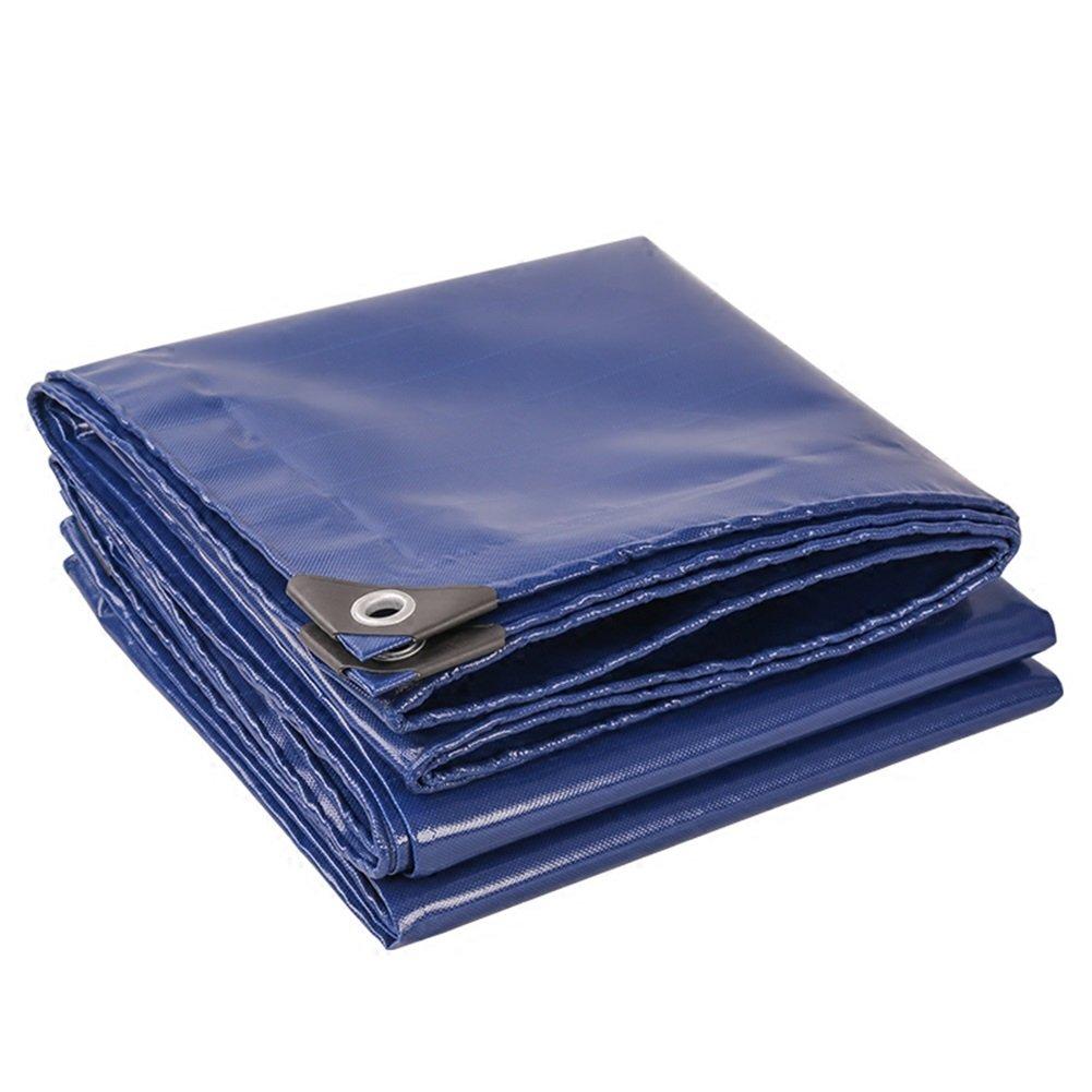 WUFENG オーニング 両面 防水 厚い 耐寒性 ナイフスクレーピング キャンバス 日焼け止め シェルター キャノピー布 うどんこ病 低温抵抗 屋外 トラック 厚さ0.45mm 520g/M2 (色 : 青, サイズ さいず : 4x4m) B07D9NCZDF 12493 4x4m|青 青 4x4m