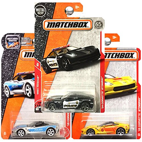 Matchbox Chevrolet Chevy Corvette Stingray Police Fire in Yellow Silver Black SET OF 3