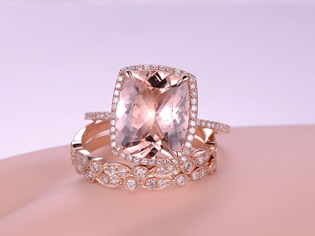 Amazon.com: MYRAYGEM-wedding ring sets 3pcs Morganite Engagement ...