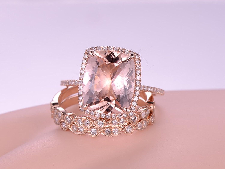 Amazon.com: 3pcs Morganite Engagement Ring Set,10x12mm Cushion Cut ...