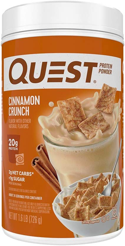 Quest Nutrition Cinnamon Crunch Protein Powder, High Protein, Low Carb, Gluten Free, Soy Free, 25.6 Ounce (Pack of 1): Health & Personal Care