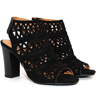 b150df8ac3 TRENDSup Collection Peep Toe Ankle Strap Sandal - Western Bootie Low  Stacked Heel Open Toe Cutout