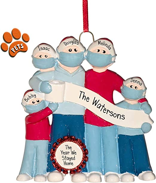 Amazon Com Pandemic Family With Tp Banner 5 Christmas Ornaments Social Distancing Face Masks Optional Pets Perfect Handwriting Home Kitchen
