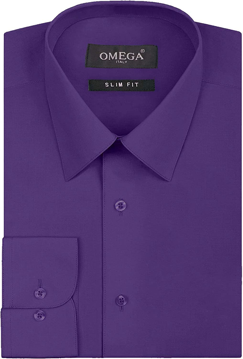 Italy Men's Premium Slim Fit Button Up Long Sleeve Solid Color Dress Shirt - Purple - S (14-14.5) 32/33 Sleeve