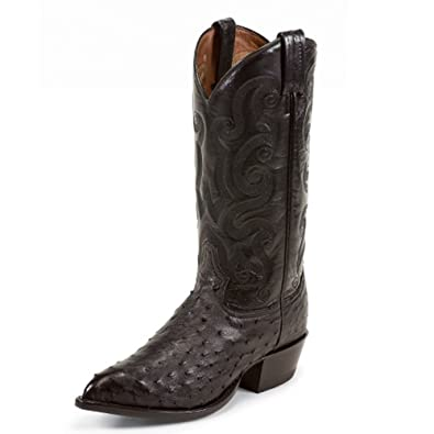 """Men's Wimberley 13"""" height (CY885)  Foot Black Ostrich  Pullon Western Boots  Black Cowboy Leather Boot  Handcrafted In The USA"""