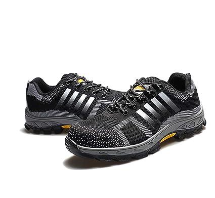 XBXZ Zapatos de Seguridad Zapato de Punta de Acero para Hombre Zapatillas de Entrenamiento de Encaje