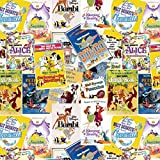 Disney Stoff–0,5Meter–Vintage Etiketten–SC096–von Springs Creative–100% Baumwolle