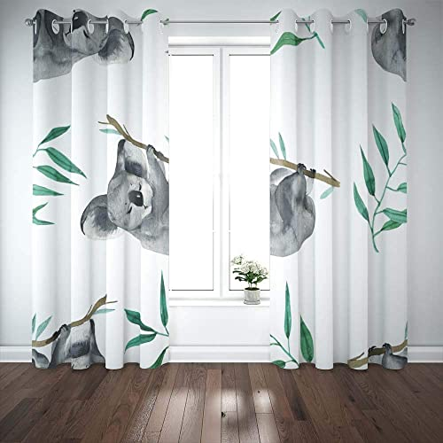 Pamime 2 Panels Curtains 52X84 Inch,Blackout Window Curtain Wild Watercolor Painting Pattern Animals Repeating Background Koala Window Curtain Panel