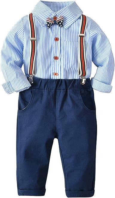 Conjunto de Trajes de Caballero para bebés, Camiseta de Rayas Azules + pantalón Azul Marino + Corbata de Lazo Overalls Ropa Set