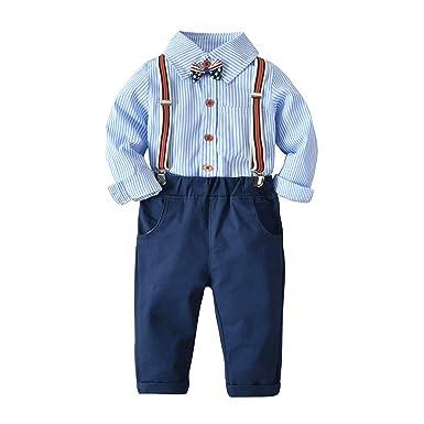 Conjunto de Trajes de Caballero para bebés, Camiseta de Rayas ...
