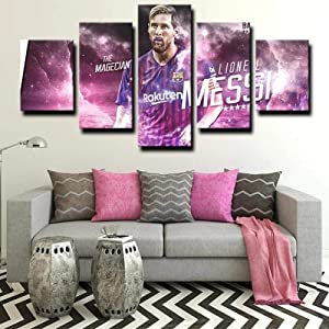 Wall Art Framed Frameless Sports Wall Decor Poster for Living Room Bedroom Home Decor Hall Fc Barcelona Forward Magician Messi 5 Piece Canvas Wall Pictures