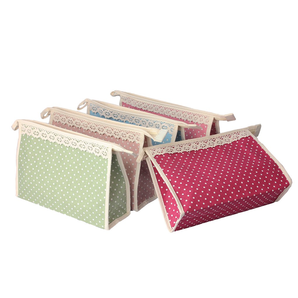 BangQiao Large Multi Purpose Cotton Flax Zipper Makeup Bag Pouch with Hanging Ring,Pack of 5,Assorted Colors