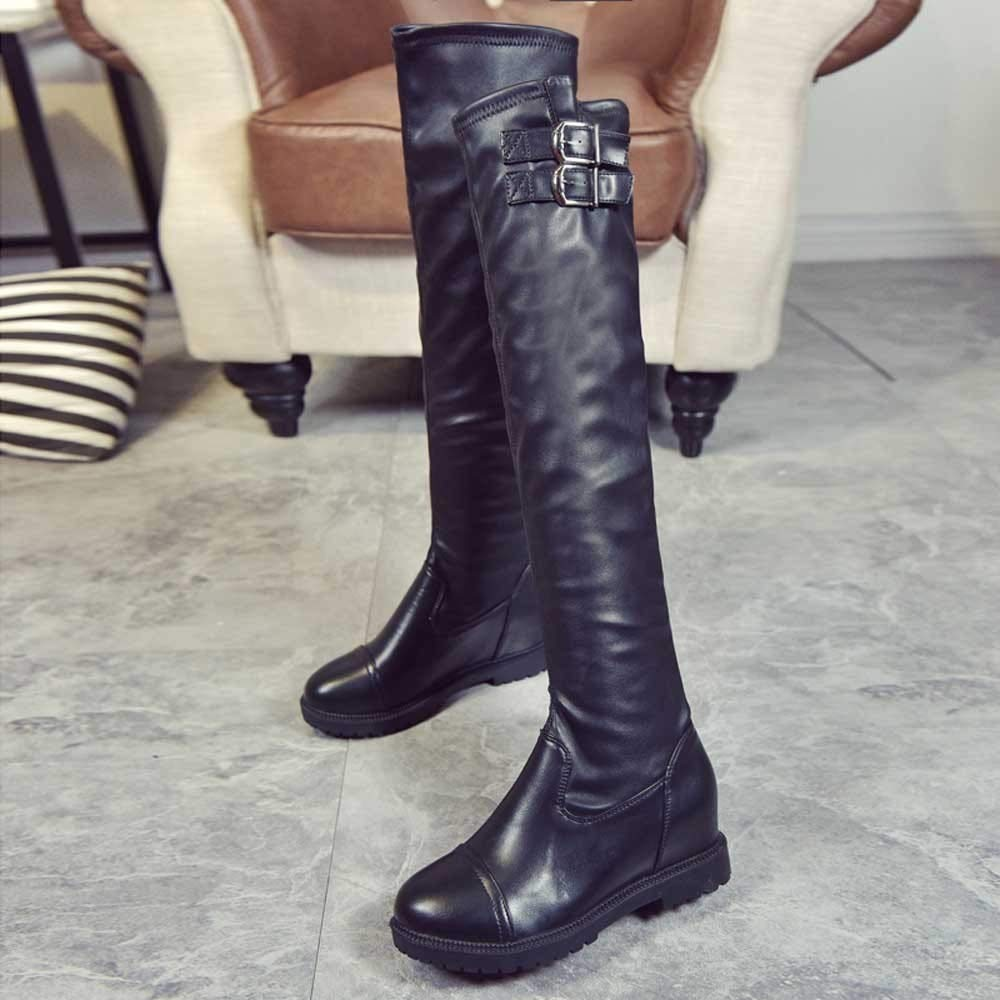Lurryly❤Womens Fashion Winter Warm Over The Knee Boots Buckle Boot Classic Bootie
