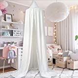HEARTNICE Girls Bed Canopy Reading Nook Tent Dome Mosquito Net Hanging Decoration Indoor Game House for Baby Kids(White)