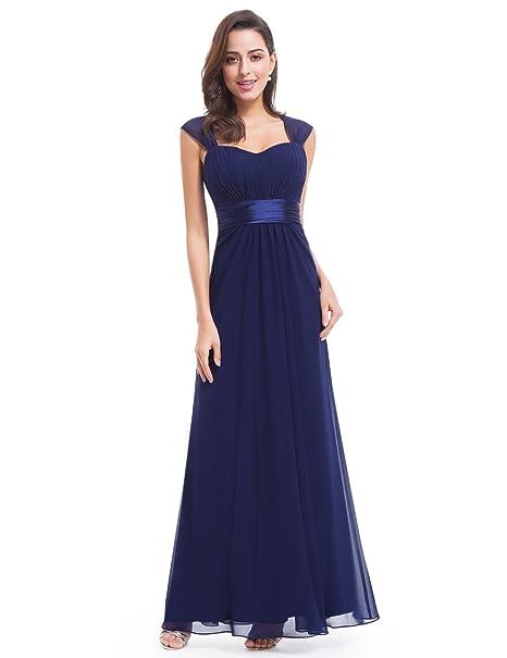 Ever-Pretty Vestido de Noche Dama de Honor Mujer Largo Gasa Imperio Azul Marino 36
