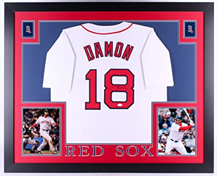 2b957ff0c10 Johnny Damon Autographed Signed Red Sox 35X45 Custom Framed Jersey (Size XL)  JSA 2004
