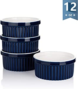 Sweese 503.103 Porcelain Ramekins for Baking - 12 Ounce Souffle Dish - Set of 4, Navy